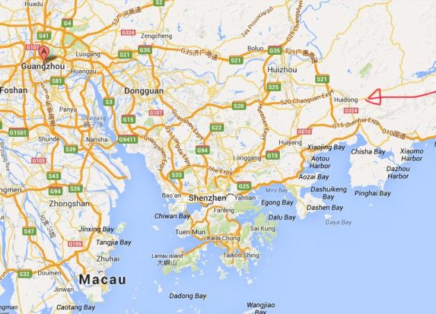 Huidong map